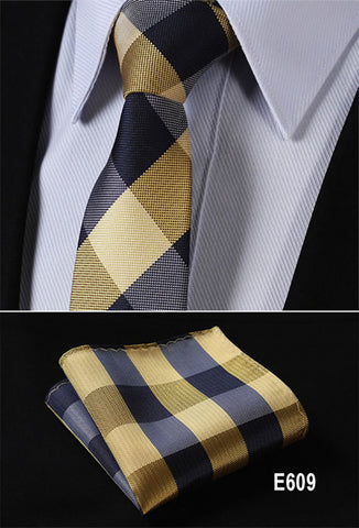 "Check 2.75"" Slim Narrow Tie Necktie Men Pocket Square handkerchief set Suit #E6 - Coolmart.us"