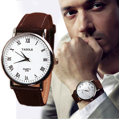 Luxury Fashion Faux Leather Mens Analog Watch Watches Brown Strap New - Coolmart.us