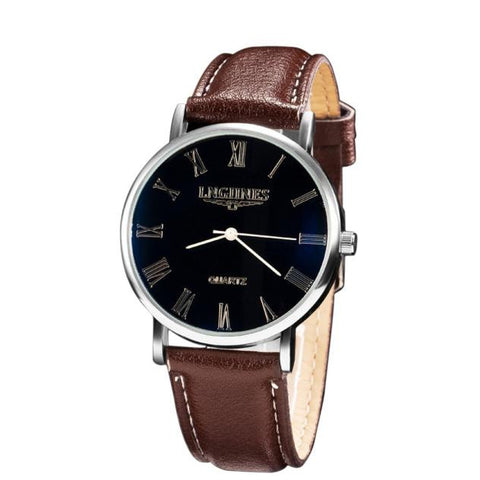 Luxury Fashion Faux Leather Mens Quartz Analog Watch Watches - Coolmart.us