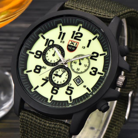 Mens Date Stainless Steel Military Sports Analog Quartz Army Wrist Watch - Coolmart.us