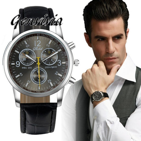 "Free shipping Genvivia New Fashion Watches Men Quartz Watch Luxury Brand Faux Leather Men""s Analog Watch - Coolmart.us"