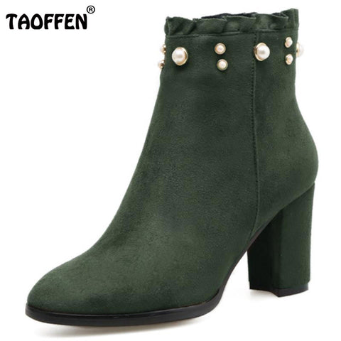 High Heel Boots Women Pearl Ruffle Zipper Round Toe Thick Heel