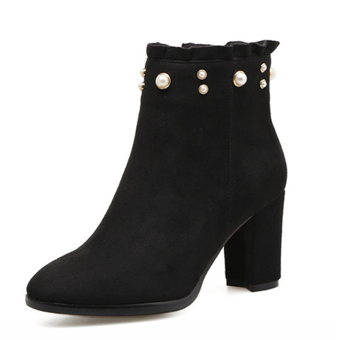 High Heel Boots Women Pearl Ruffle Zipper Round Toe Thick Heel - Coolmart.us