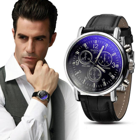 Luxury Fashion Crocodile Faux Leather Mens Analog Watch Watches New