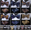 Image of Floral Paisley Striped Silk Jacquard Woven Men Butterfly Self Bow Tie