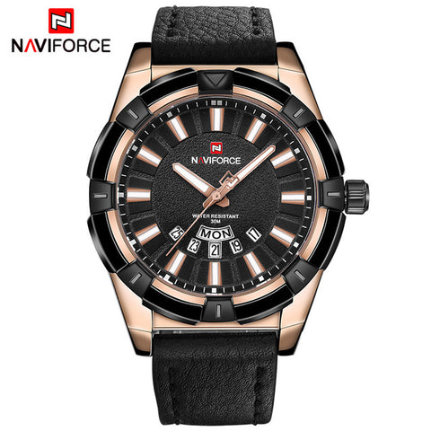 NAVIFORCE Men's Fashion Casual Leather Sports Watch
