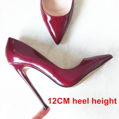 Brand Shoes Woman High Heels Pumps Nude High Heels 12CM Women Shoes High Heels Wedding Shoes Pumps Black Nude Shoes Heels B-0043 - Coolmart.us