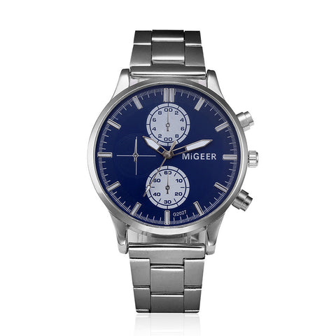 Fashion Men Crystal Stainless Steel Analog Quartz Wrist Watch Bracelet - Coolmart.us