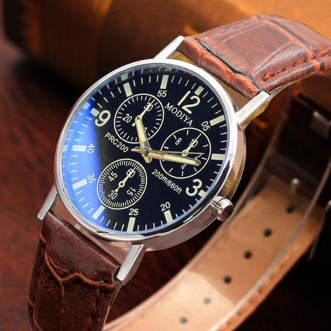 Six Pin  Watches Quartz Men's Watch Blue Glass