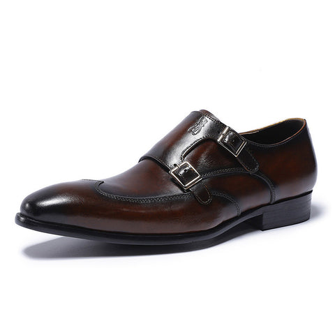FELIX CHU Classic Genuine Leather Monk Strap Loafer