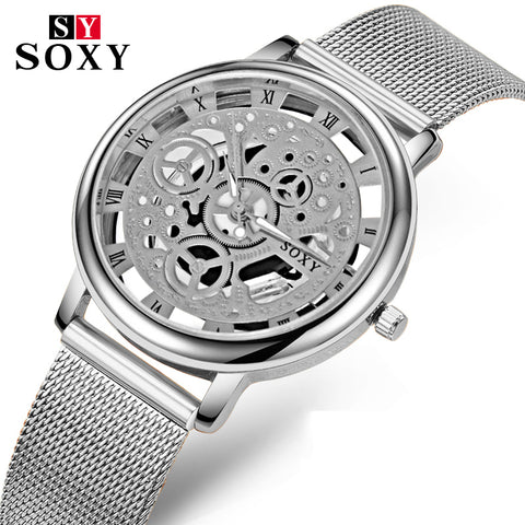 2017 Brand SOXY Wrist Watch Simple Style Mesh Belt Women Quartz Watches Fashion Hollow Designer Ladies Watch relogio feminino