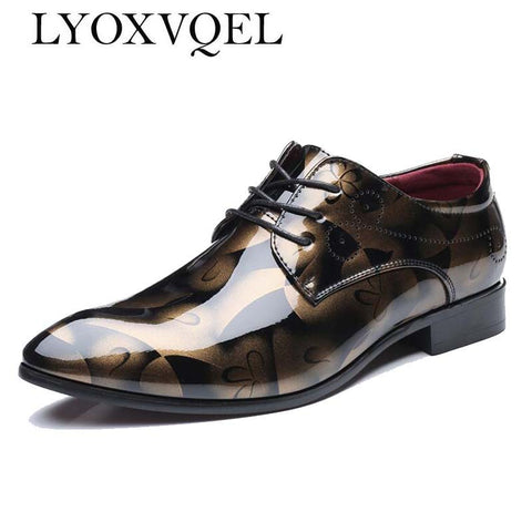 Men's Flat Oxfords Patent Leather Derby Shoes