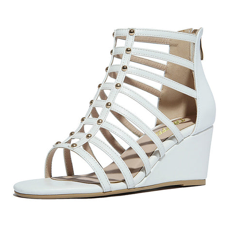 Women High Wedges Sandals Real Leather Gladiator Shoes