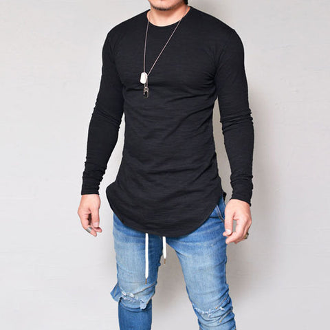 Men Slim Fit O Neck Long Sleeve Muscle Tee T-shirt Casual Tops Blouse - Coolmart.us