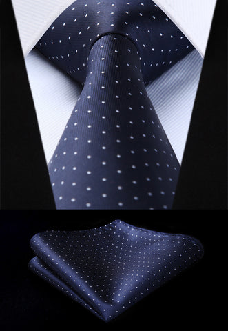 "Woven Classic Men Tie Necktie  TD606V8S Navy Blue White Polka Dot 3.4"" Silk Tie Party Wedding Handkerchief Set"