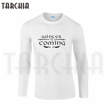 Long Sleeve Tee Game of Thrones Winter Is Coming STARK Print Men's T-Shirt 100% Cotton