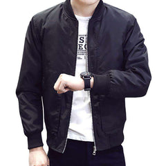 Get Your Wardrobe Overhaul With Men's Casual Slim Stand Collar Bomber Jacket - Coolmart.us