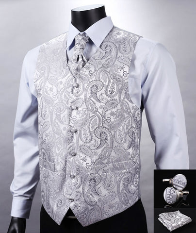 VE12 Silver Gray Paisley Top Design Wedding Men 100%Silk Waistcoat Vest Pocket Square Cufflinks Cravat Set for Suit Tuxedo