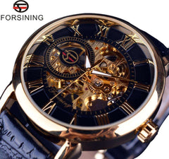 Forsining 3d Logo Design Hollow Engraving Black Gold Case Leather Skeleton Mechanical Watches Men Luxury Brand Heren Horloge - Coolmart.us