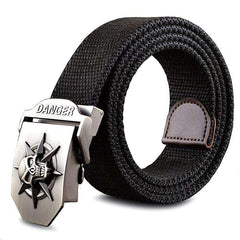 Image of Fashion men's Canvas belt skull Metal tactics
