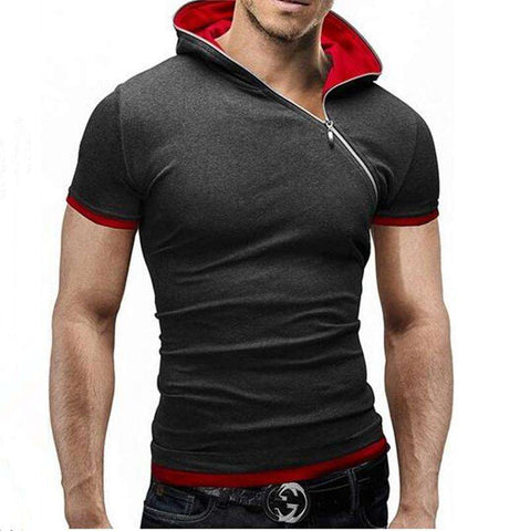 New Men's Tops Tees 2016 Summer Cotton O Neck Short Sleeve T Shirt Men Fashion Solid Hooded Slim T Shirts Mens - Coolmart.us