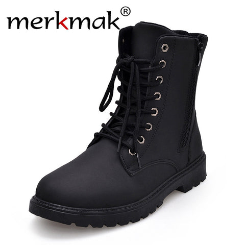 Merkmak Tactical Waterproof Winter Warm Snow Boots Men Vintage Leather Motorcycle Ankle Martin High Cut Male Casual Ankle Boots - Coolmart.us