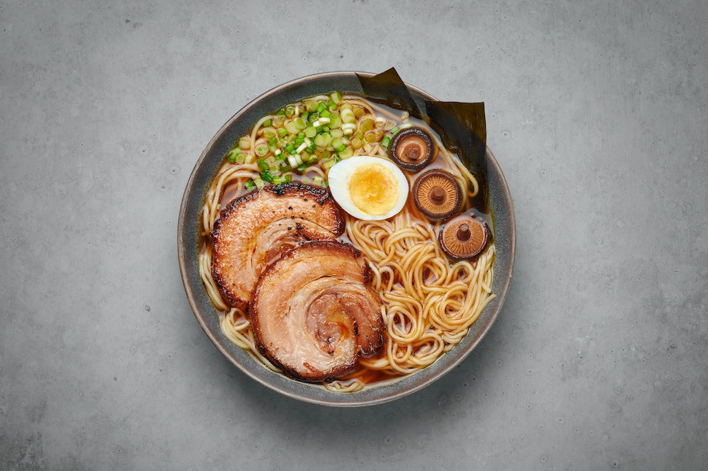 Bowl of ramen with chicken chashu on top