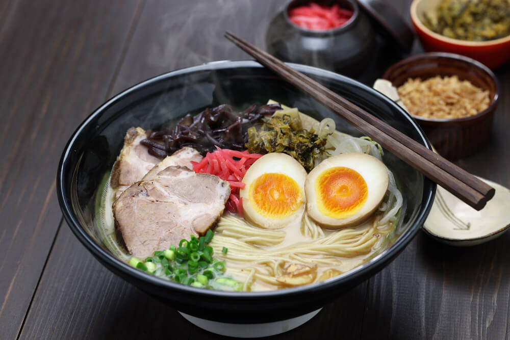 Fresh bowl of ramen with eggs and chashu