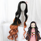 Uwowo Demon Slayer: Kimetsu no Yaiba Kamado Nezuko Cosplay Wig 95cm Long Wavy Black Orange Gradient Wig