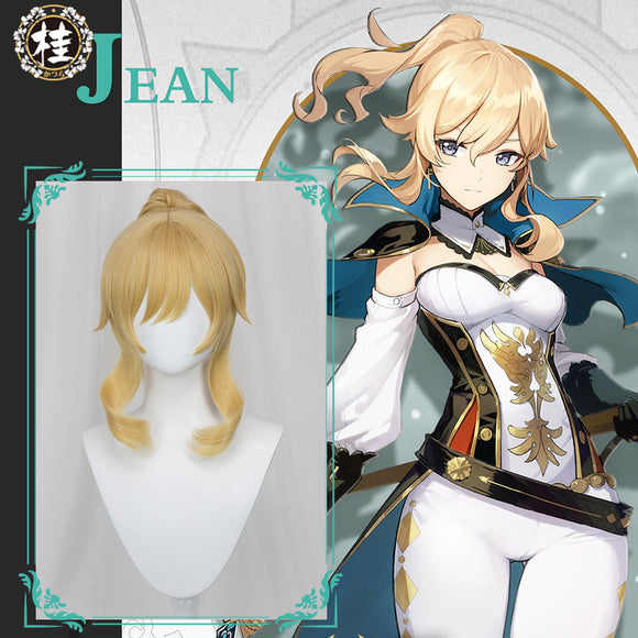 【Pre-sale】Uwowo Game Genshin Impact Jean The rigorous Dandelion Knight 40CM Gold Short Hair Ponytail Cosplay Wig