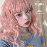 Hengji Lolita Wig Psidium 43cm Pinkish-orange Dirty Blue Curly wig Synthetic Heat Resistant Fiber
