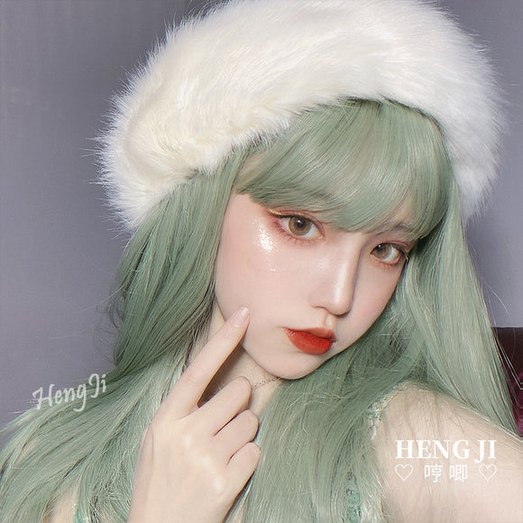 Hengji Lolita Wig Cookies Grassy/Light Khaki Gold 45cm long Straight hair Synthetic Heat Resistant Fiber