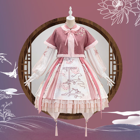 【Pre-sale】Uwowo Original Design Peach Blossom Chinoiserie Lolita Dress Cosplay Costume