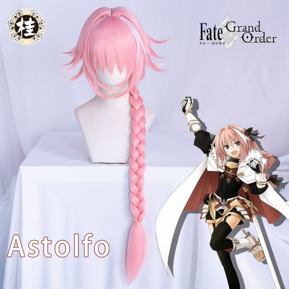 Uwowo Fate Grand Order/FGO Astolfo Cosplay Wig 60cm Long Pink Braid hair