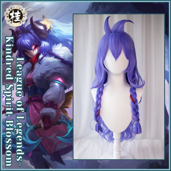 Uwowo League of Legends LOL Spirit Blossom Kindred Eternal Hunters Cosplay Wig 80CM Blue Purple Gradient Wig