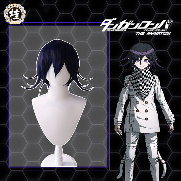 Uwowo Danganronpa Kokichi Oma Cosplay Wig The Ultimate Supreme Leader 35cm Blue purple Short Hair