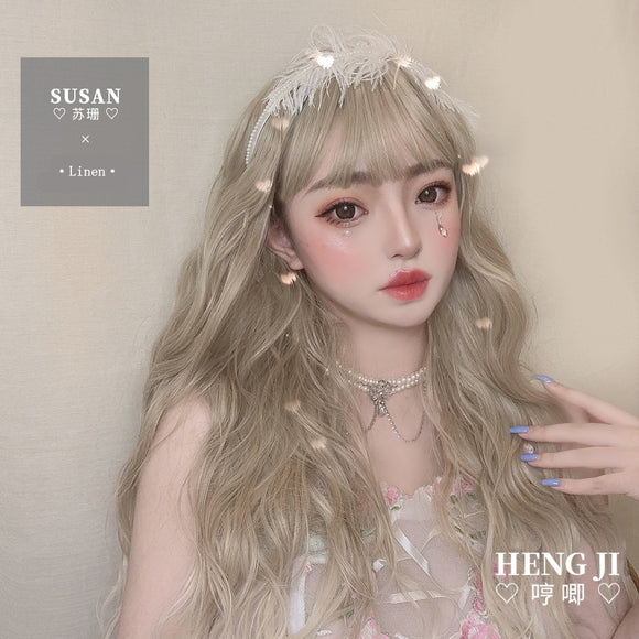 Hengji Lolita Wig Susan Linen 56cm Long curly hair Synthetic Heat Resistant Fiber