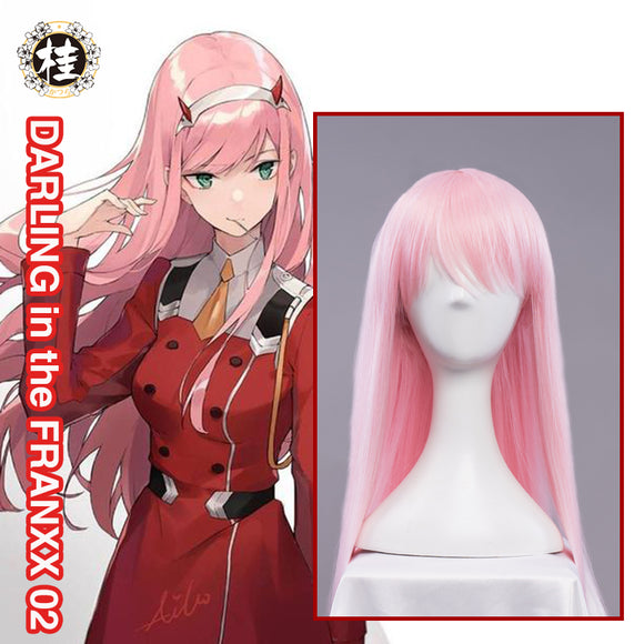 UWOWO Anime DARLING in the FRANXX Cosplay Wig Zero Two CODE:002 100cm Pink Hair