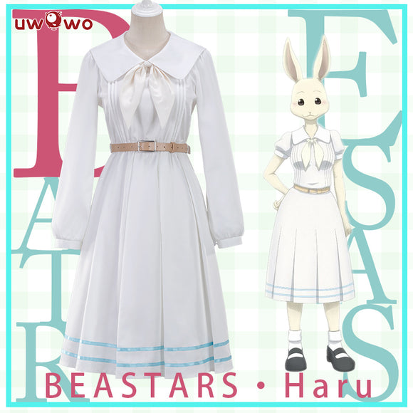 UWOWO Anime Beastars Haru Cosplay Costume Uniform White Rabbit Animal Cute Dress