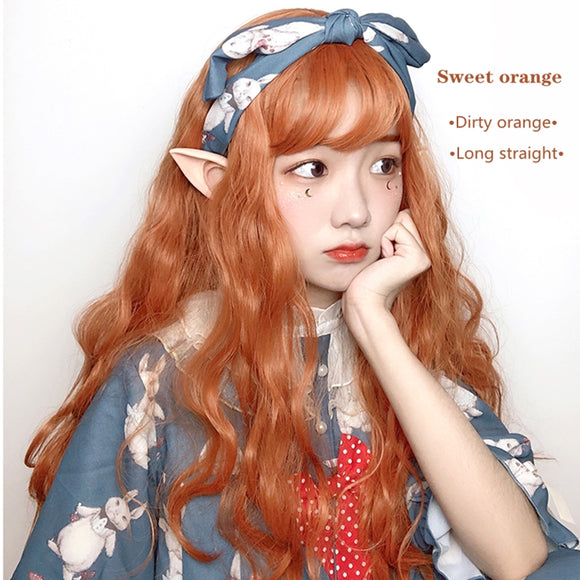 Hengji Wig Sweet Orange Dirty orange/Black 70cm Long Wavy Lolita Daily Cosplay Wig Synthetic Heat Resistant Fiber