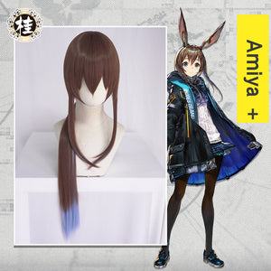 UWOWO Game Arknights Amiya Cosplay Wig 80cm Brown Blue Gradient Hair Cosplay Wig