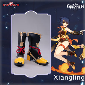 Uwowo Game Genshin Impact Xiangling Exquisite Delicacy Cosplay Chef de Cuisine Cosplay Shoes