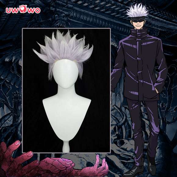 Uwowo Anime Jujutsu Kaisen Satoru Gojo Cosplay Wig (spiked up) 28CM Light purple white Gradient Short Hair
