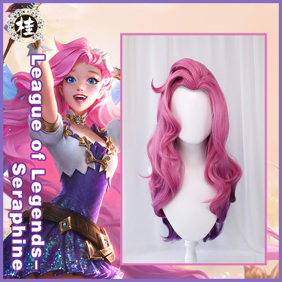 Uwowo League of Legends LOL Seraphine The Starry-Eyed Songstress Cosplay Wig 80cm Pink Pruplr Gradient Hair
