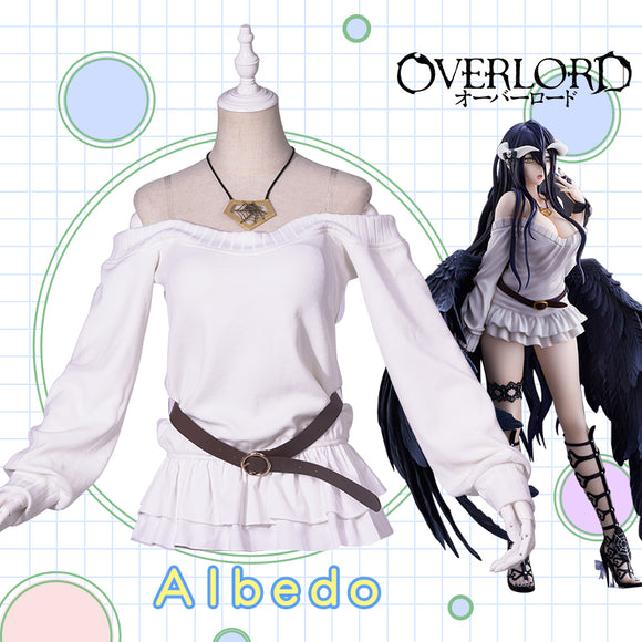 UWOWO Anime Overlord Albedo Cosplay White Sweater Cosplay Costume