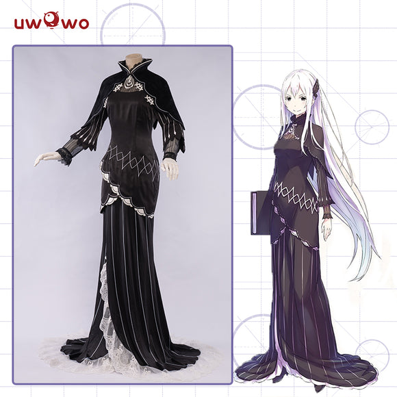 Uwowo Re:Zero Starting Life in Another World Echidna Cosplay Costume Elegant Mullet Dress