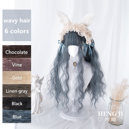 Hengji Lolita Wig Doll Chocolate-Vine-Gold-Linen gray-Black-Blue 70cm Long curly wig Synthetic Heat Resistant Fiber
