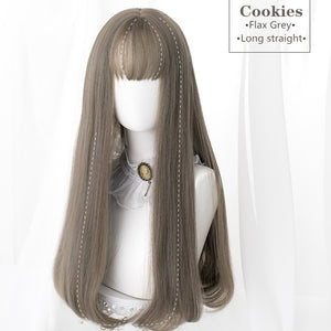 Hengji Lolita Wig Cookies Black-brown/Chocolate/Gridelin 62cm Long Straight hair Synthetic Heat Resistant Fiber