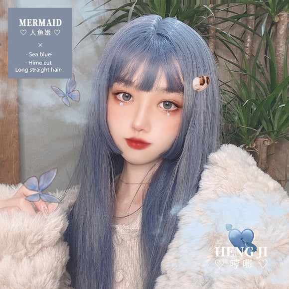 Hengji Lolita Wig Sea Blue 60cm/28cm long/short straight hair Synthetic Heat Resistant Fiber