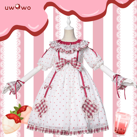 Uwowo Original Design Bubble Tea-Strawberry Lolita Dress Cosplay Costume